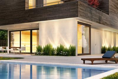 Terrasse mit Pool Naturstein